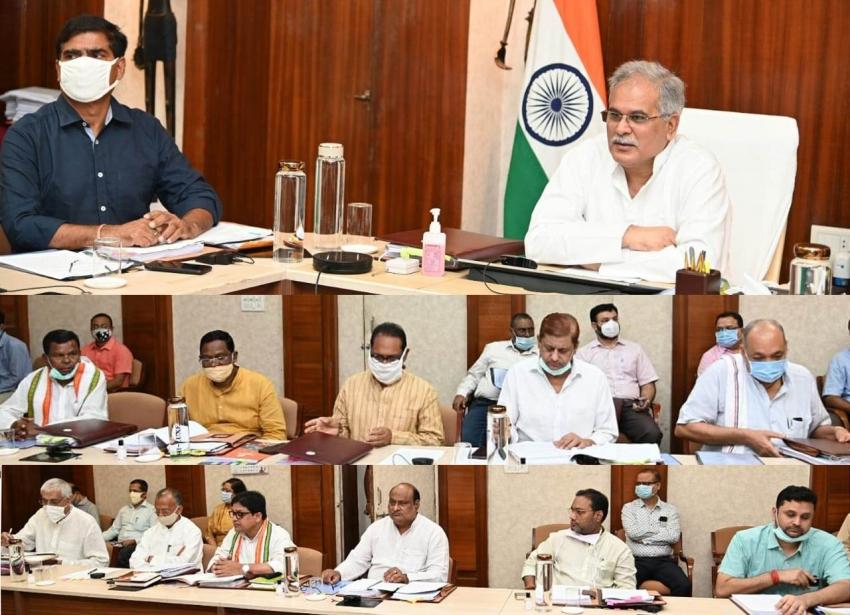 मुख्यमंत्री भूपेश बघेल की अध्यक्षता में आज यहां उनके निवास कार्यालय में मंत्री परिषद की बैठक आयोजित, बैठक में निम्नानुसार महत्वपूर्ण निर्णय लिए गए